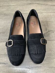 LADIES CLARKS UNSTRUCTURED BLACK SUEDE LOAFERS SHOES UK 4D VGC WORN ONCE