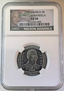 "2000 South Africa 5 Rand Nelson Mandela, ""Smiley"" NGC AU58 -*FREE SHIPPING*"