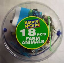 18pcs Farm Animals in Tub Pretend Play Party Bag Kids Nature Figure Toy Gift
