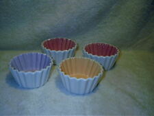 Vintage Hallmark Cupcake Shape Baking Cup Candy Dish Set of 4 Asst Colors NEW
