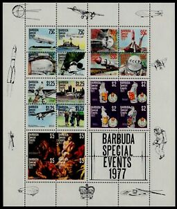 BARBUDA, SCOTT # 318-322 (322A), MINI SHEET OF SPECIAL EVENTS OF 1977, MNH
