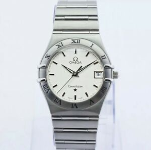 Gorgeous Omega Constellation Brushed Silver Stainless Steel Quartz Watch 33mm