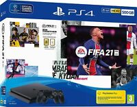 Sony Playstation 4 PS4 Slim Console 500Gb Black + FIFA 21 + Extra Dualshock
