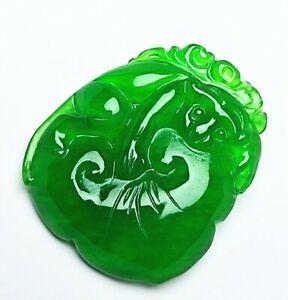 Green Jadeite Jade Handwork Collectible Amulet Ruyi Pendant AD01