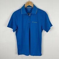 Lexus Womens Top Polo Shirt 12 Blue Striped Short Sleeve Collared