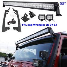 """52"""" 700W +2x18W LED Light bar +Mount Brackets &Wire Fits Jeep Wrangler JK 07~17"""