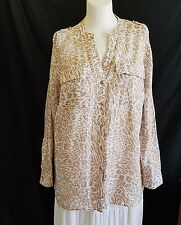Calvin Klein Top Blouse 1X Animal Print Roll Tab Sleeves Cream Beige Linen Tunic