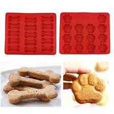 2Pcs Food Grade Large Mats TraysPuppy Pets Dog Paws Bones Silicone Baking Molds