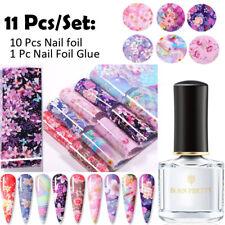 11Pcs Flower Nail Series Foils Nail Art Transfer Sticker Paper Nail Foil Glue
