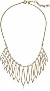 Jessica Simpson Pave Drop Statement necklace White Gold Plated Silver Tone