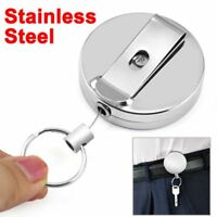 Key Chain Retractable Metal Recoil Ring Belt Clip Pull Key Ring Stainless Steel