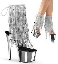 "7"" Pink Clear Platform Boots Rhinestones Tassels Stripper Heels Shoes size 10 11"