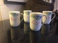 "Vintage set of 4 OTAGIRI JAPAN Flowers & Hummingbirds or Birds 4"" Coffee Mug Cup"