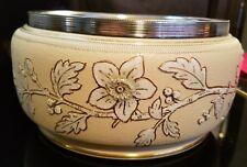 "Antique Gilt Floral Orange Ceramic Bowl w/ Silver Brim ""Brocade S Patent"" Crown"