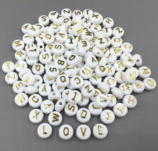 100pcs Mixed Round Acrylic Letter/ Alphabet Spacer Beads 10x 10mm