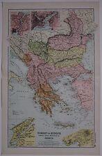 1910 ORIGINAL MAP TURKEY IN EUROPE RUMANIA SERVIA MONTENEGRO GREECE BOSPORUS
