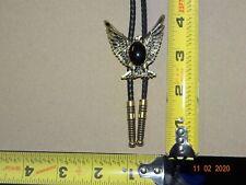 Bolo Tie Eagle Gold Tone Oval Black Stone Southwestern