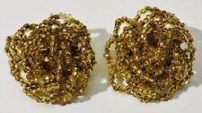 boucles d'oreille clips bijou vintage rosace petites perles couleur or *3451