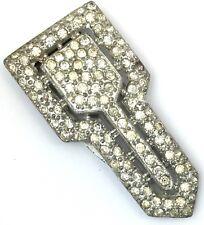 Art Deco Clear Rhinestone Dress Clip Baguette Open Metal Work Vintage Jewelry