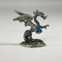 Pewter Dragon with Blue Crystal Ball Vintage 1980's Figurine