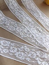 White LACE RIBBON rose 32mm BRIDAL CRAFTS floral shabby chic wedding rustic folk