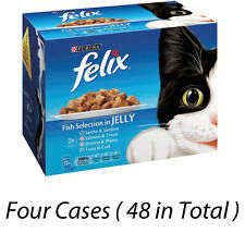 FELIX FISH SELECTION IN JELLY 48 POUCHES 4 CASES OF 12 CAT FOOD 225812