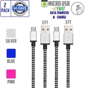 2pack Premium Micro USB Android Tangle Free Braided Cable Fast Data & Charger