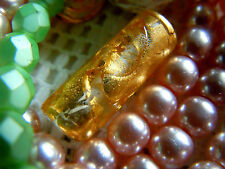 Edle Crystal Clear Murano-Perle m.24Karat Gold in kleiner Röhrenform- 22x8mm -