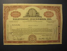 Old Vintage 1959 - TELEVISION INDUSTRIES INC. - Stock Certificate