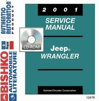 2001 Jeep Wrangler Shop Service Repair Manual DVD Engine Drivetrain Electrical