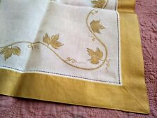 "Quality Large Gold Vine Hand Painted White Hemstitched Linen Runner 70"" x 18"""