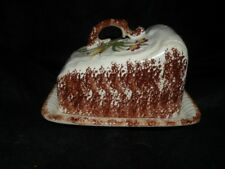 ANTIQUE SPONGED IRONSTONE FLORAL DECORATED CHEESE DISH