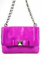 Kate Spade Gold Tone Chain Bow Flap Magnet Closure Shoulder Handbag Pink Leather