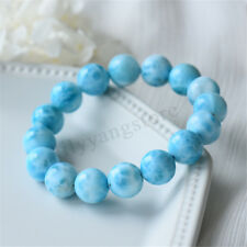 10mm 6.3'' Natural Blue Larimar Gemstone Round Beads Water Pattern Bracelet Gift