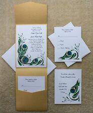 100 Personalized Custom Gold Pocket Peacock Bridal Wedding Invitations Set