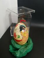 Vtg Hand Painted Goose Egg Decoration Santa Cat Toys Folk Art Ornament 1987