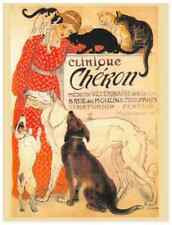 Postcard: Vintage print repro - Woman in red dress with Adoring Cats and Dogs
