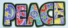 """HOT SALE! Peace sign hippie boho retro Biker Iron On Patch Skirt about 3.8""""×1.4"""""""