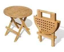 Teak Picnic Table Folding Round 50cm Wood Garden Premium Foldup Solid, Jati
