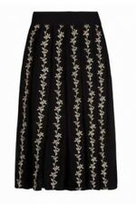 Monsoon Sinead Black Floral Embroided Midi Skirt Size 14 Bnwt