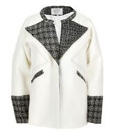 Design Black Lapel White Mono Two Tone Tweed Jacket Cocoon Loose Fall Coat