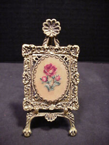 Picture Frame Brass Miniature Artists Easel Petit Point Needllework Dollhouse