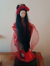 VINTAGE JAPANESE ORIENTAL SOUVENIR DOLL LONG BLACK HAIR RED KIMONO DRESS