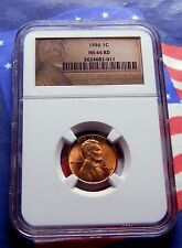 1946-P 1946 LINCOLN WHEAT CENT - NGC  MS66RD -  - BRIGHT RED GEM - TOUGH DATE