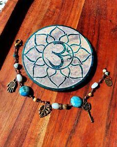 'Bohemian Ocean' Castaway Bracelet by GypsyLee Hemp Raw Crystal Amazonite Agate