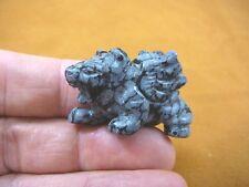Y-Lio-Ga-Wa-557) Black Obsidian Lion Gargoyle gemstone carving mythical statue