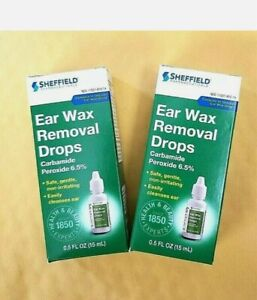 2 Pk Ear Wax Removal Drops Sheffield Carbamide Peroxide 6.5% Made in USA