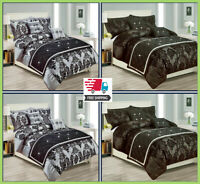 Luxury Damask Duvet Cover Bedding Set + Pillowcase Size Double King Super King
