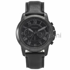 Fossil Original FS5132 Men's Grant Black Leather Watch 45mm Chonograph