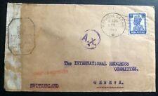 1943 Karachi India Civil Censorship Cover To Red Cross Geneva Switzerland